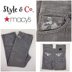 STYLE & CO Sequin Embellished Gray Corduroy Pants